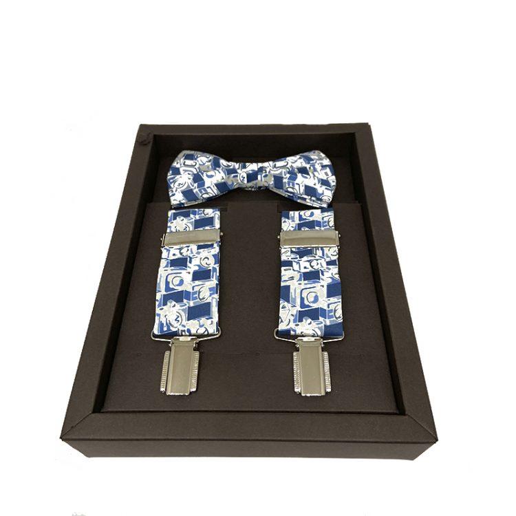 conjunto pajarita tirantes motivo azul